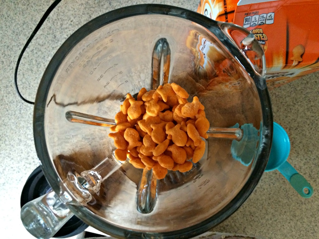 Add Goldfish crackers to the blender