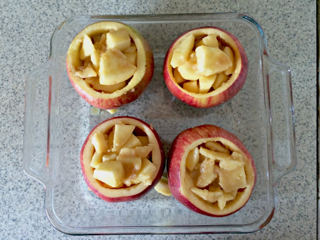 Fill apples with caramel apple topping for apple crisp #ad #WarmthInACrust