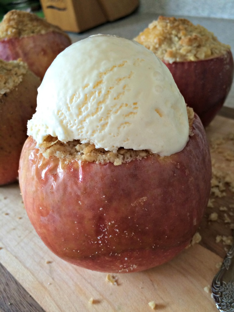 ice cream topping caramel apple crisp stuffed apples #ad #WarmthInACrust