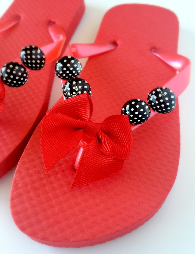 Red and Black Flip Flops