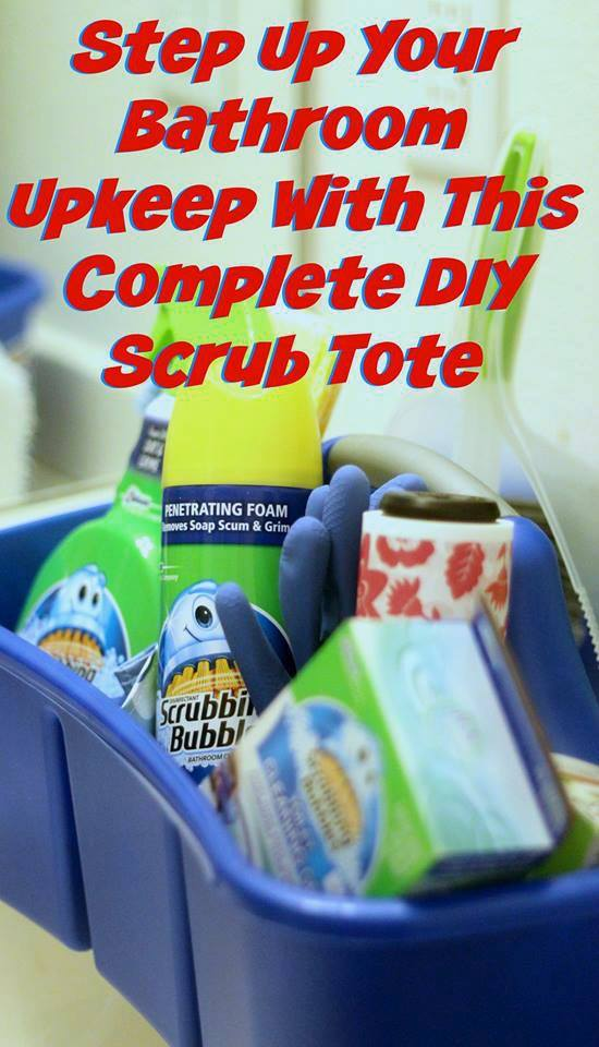 Step Up Your Bathroom Upkeep with this Complete DIY Scrub Tote #ad #savewithbubbles