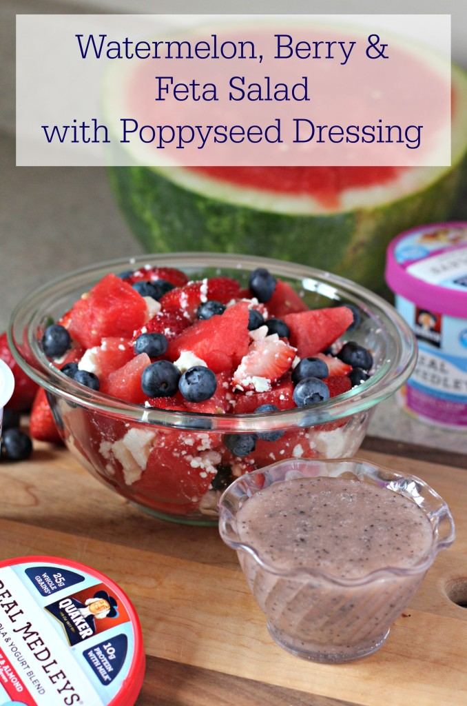 This delicious Watermelon Berry and Feta Salad with Poppyseed Dressing is the perfect pairing to any breakfast to give you some sweet, tart, and tangy variety to your meal. #ad #QuakerRealMedleys