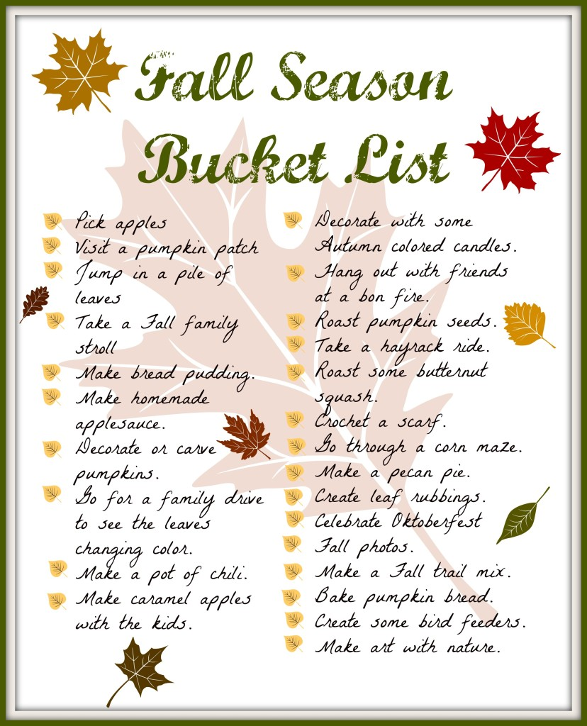 Fall Season Bucket List