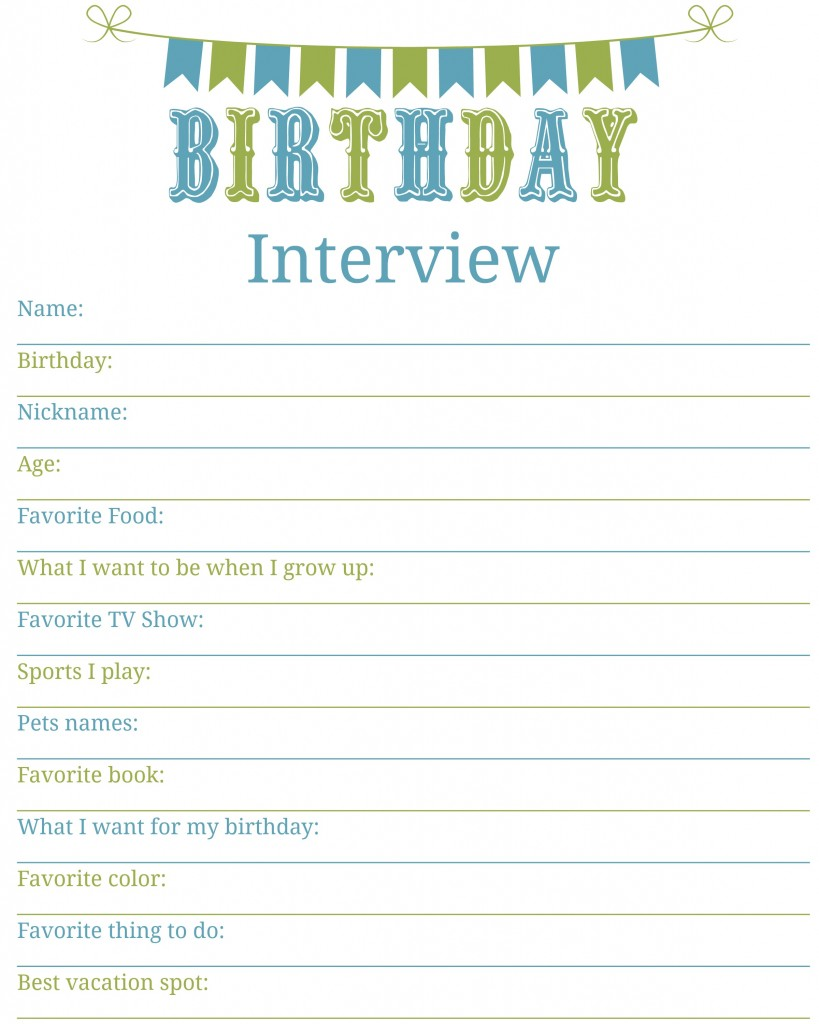 Birthday Interview blue and green